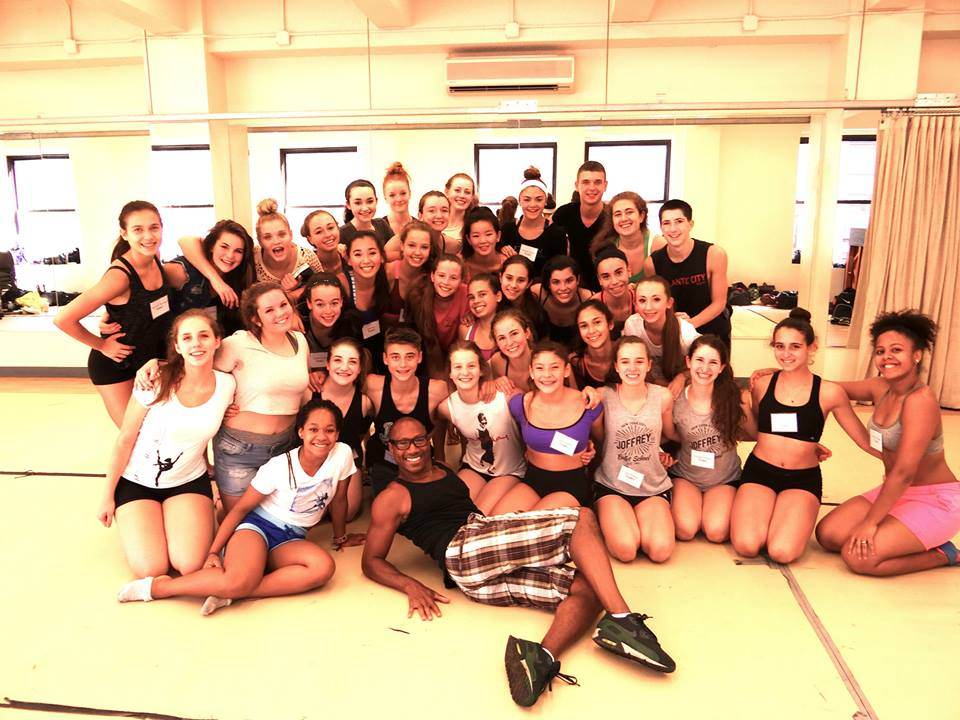 Joffrey Ballet School Jazz & Contemporary Program Director, Michael Blake, with Joffrey summer intensive students.